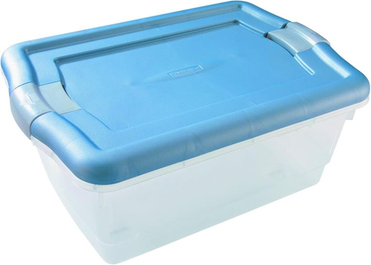 Clever Store 3Q3100CLCBL Non-Latching Storage Container, 6-1/4 qt, 13.3 in L x 8-1/2 in W x 4.7 in H, Plastic, Clear