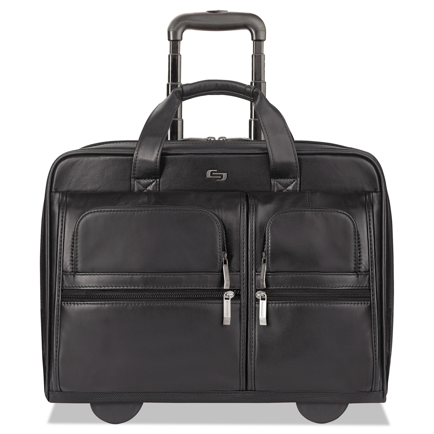 """Classic Leather Rolling Case, 15.6"""", 16 7/10"""" x 7"""" x 13"""", Black"""