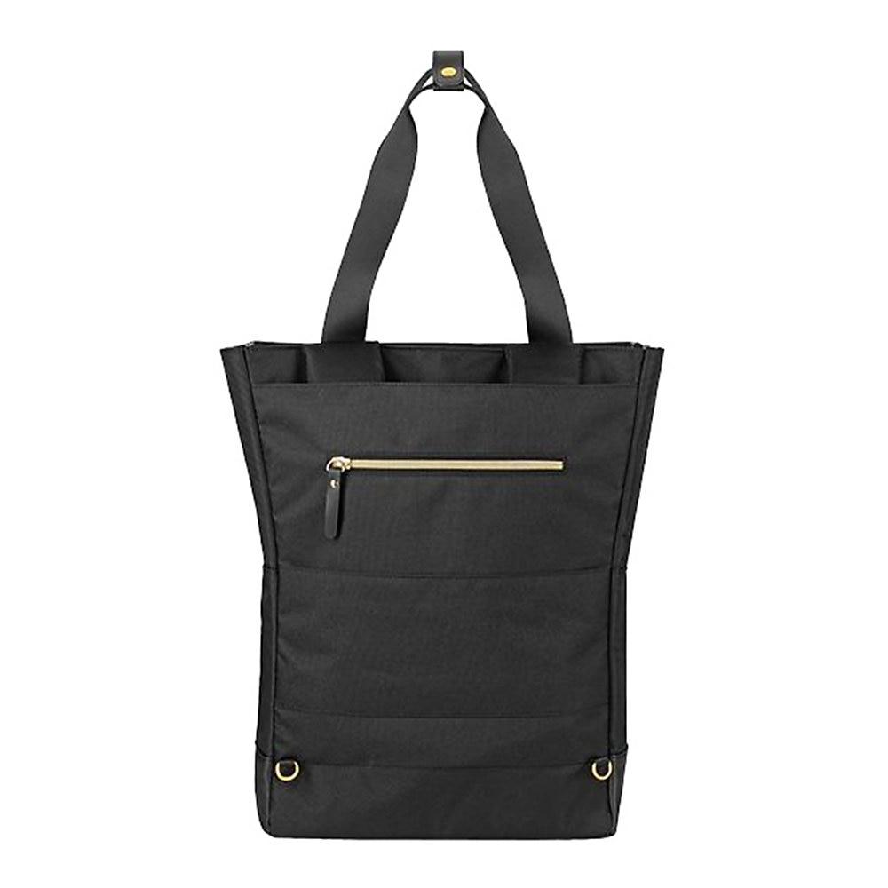 "Parker Hybrid Tote/Backpack, Holds Laptops 15.6"", 3.75 x 16.5 x 16.5, Black/Gold"