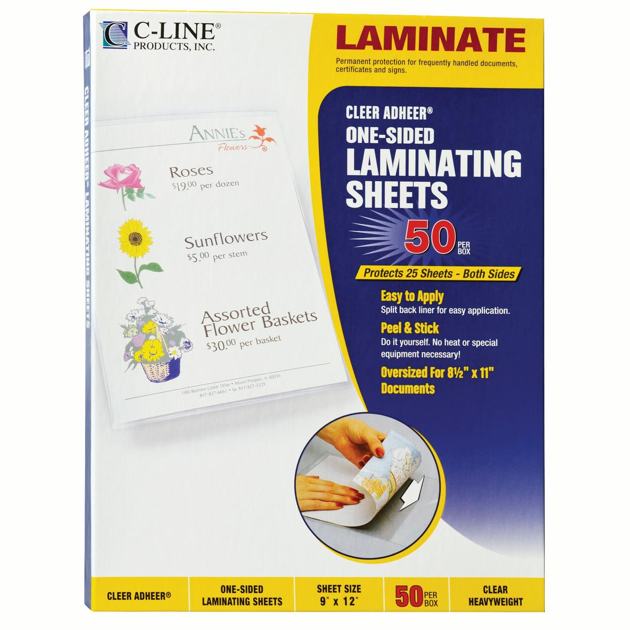 "Cleer Adheer Self-Adhesive Laminating Film, 2 mil, 9"" x 12"", 50/Box"