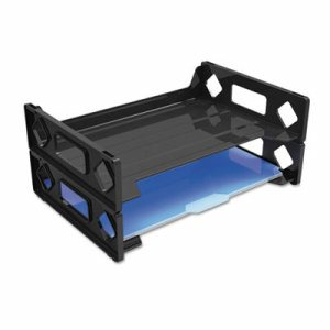 Side Load Letter Desk Tray, Two Tier, Plastic, Black
