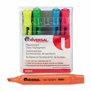 Desk Highlighter, Chisel Tip, Fluorescent Colors, 5/Set