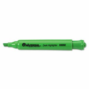 Desk Highlighter, Chisel Tip, Fluorescent Green, Dozen