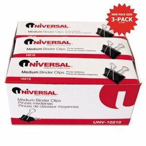 "Medium Binder Clips, Zip-Seal Bag, 5/8"" Capacity, 1 1/4"" Wide, Black, 36/Bag"