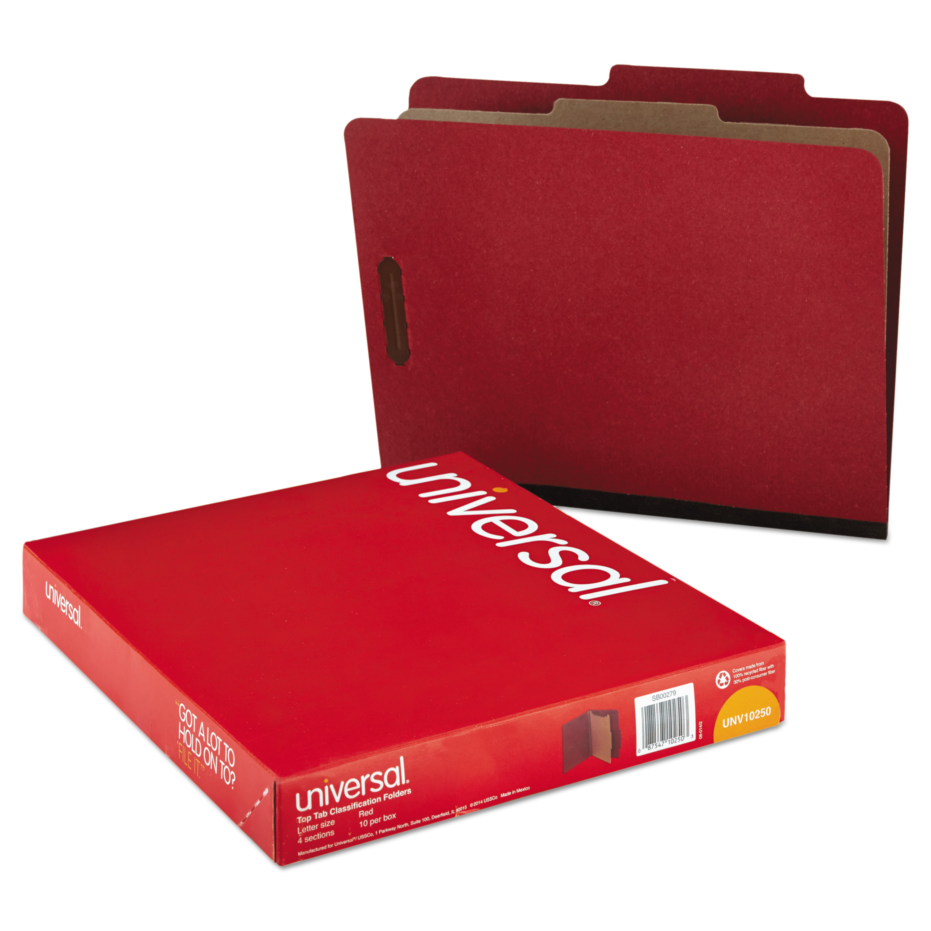 Pressboard Classification Folder, Letter, Four-Section, Red, 10/Box
