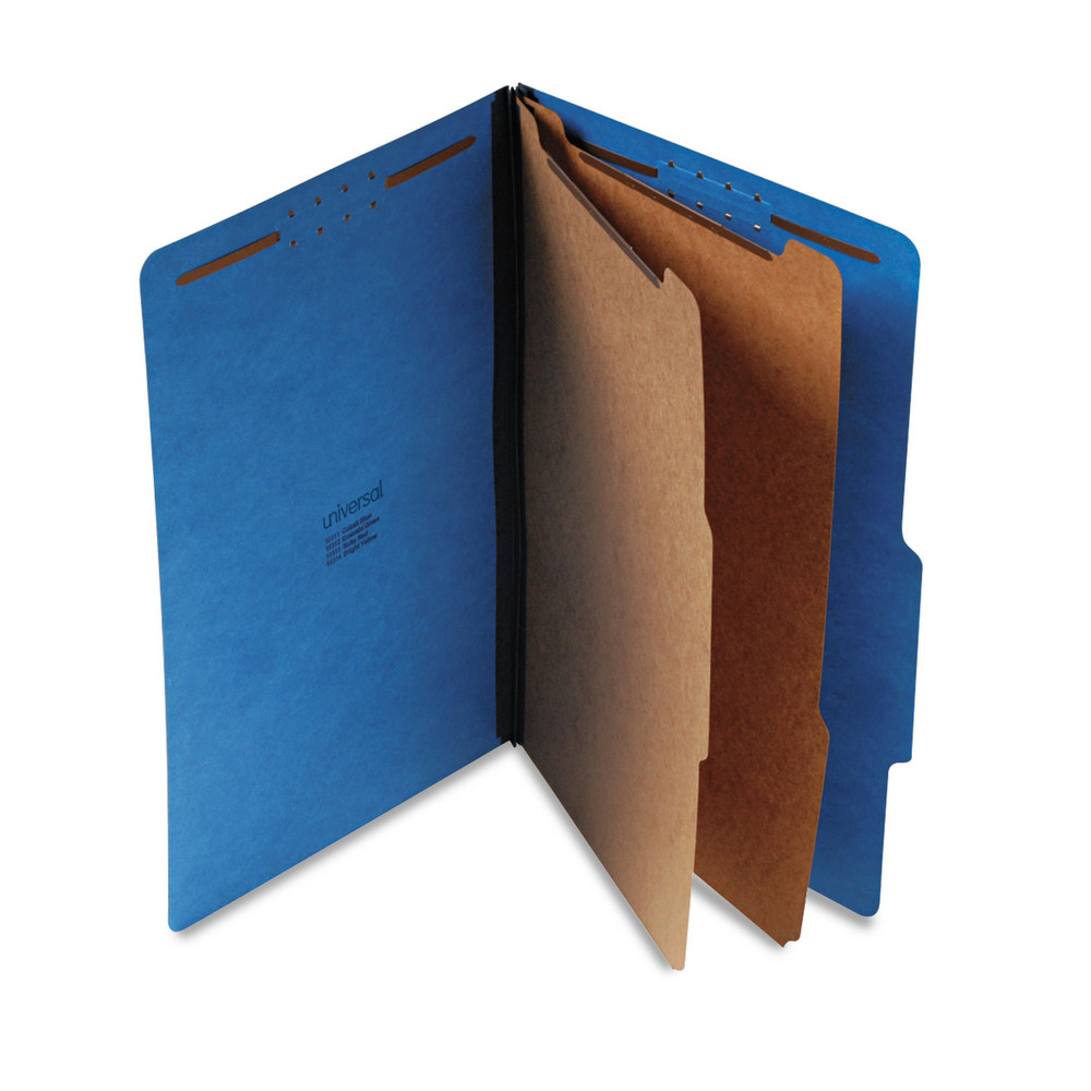 Pressboard Classification Folders, Legal, Six-Section, Cobalt Blue, 10/Box