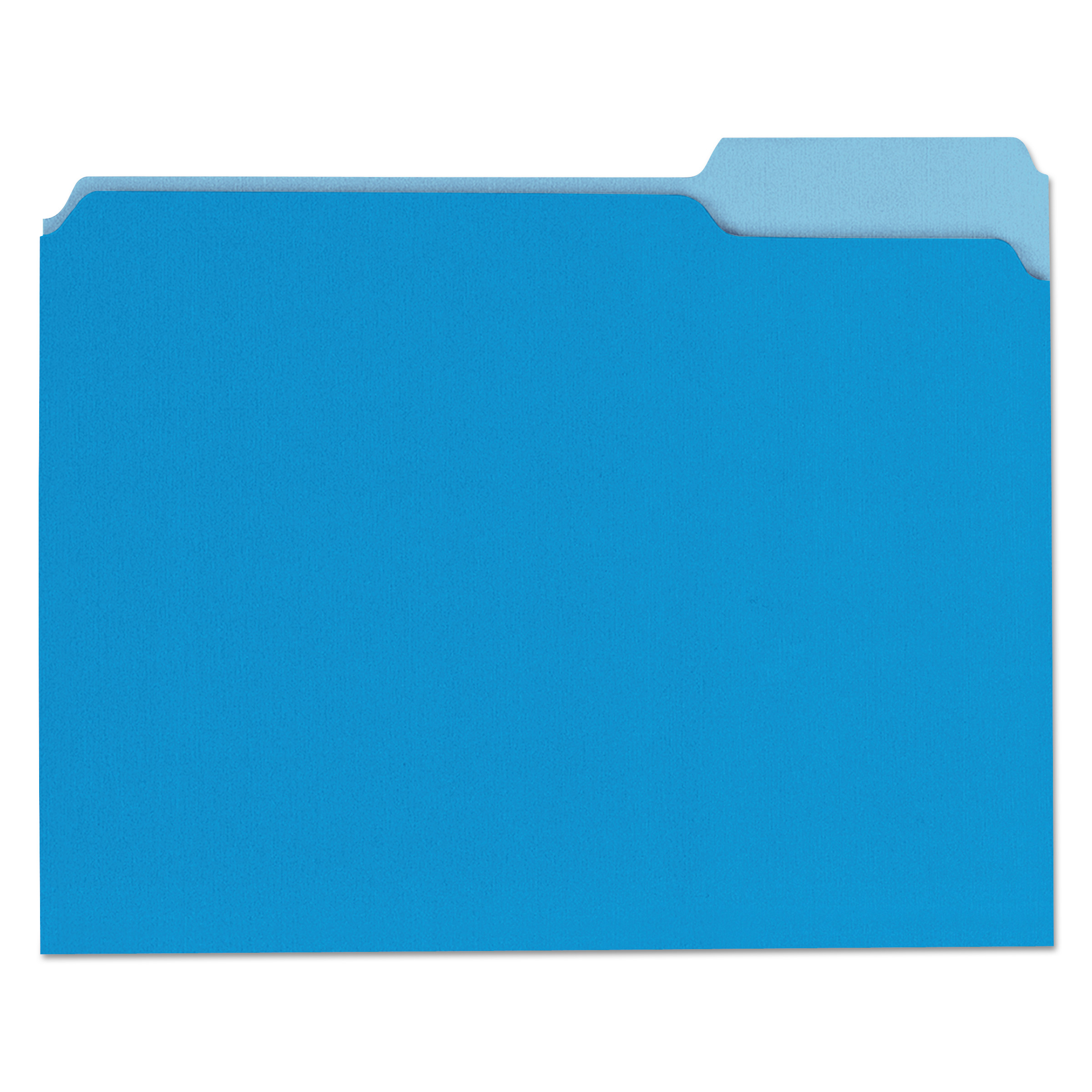 File Folders, 1/3 Cut One-Ply Top Tab, Letter, Blue/Light Blue, 100/Box