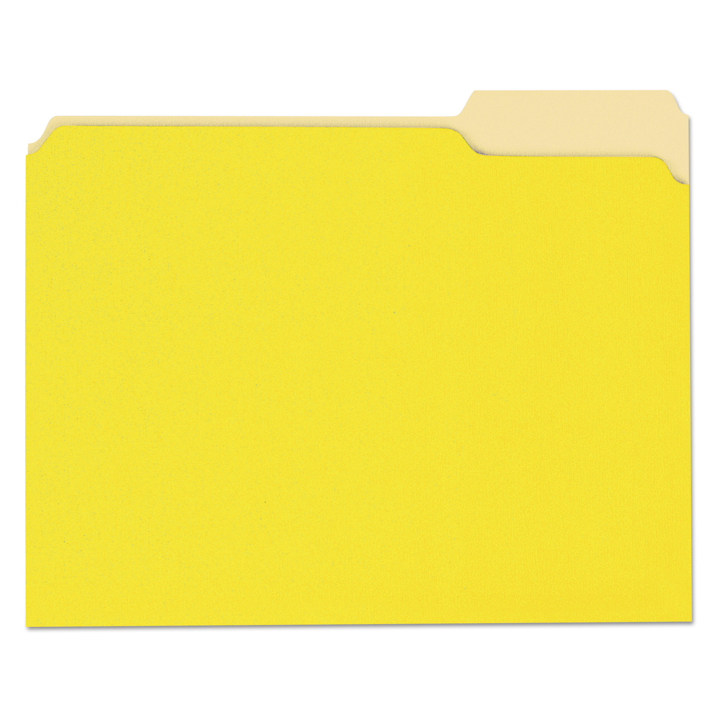 File Folders, 1/3 Cut One-Ply Top Tab, Letter, Yellow/Light Yellow, 100/Box
