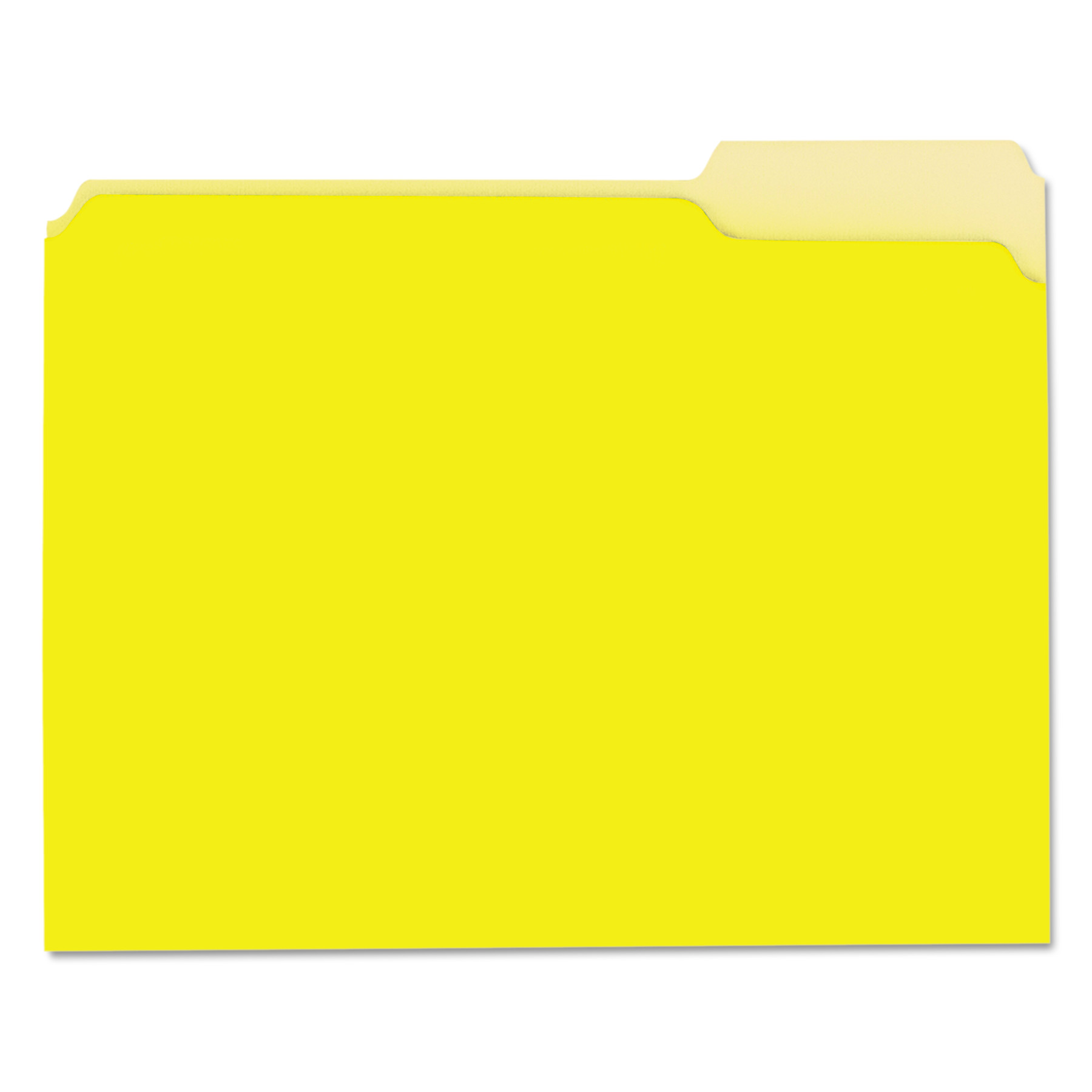 Recycled Interior File Folders, 1/3 Cut Top Tab, Letter, Yellow, 100/Box