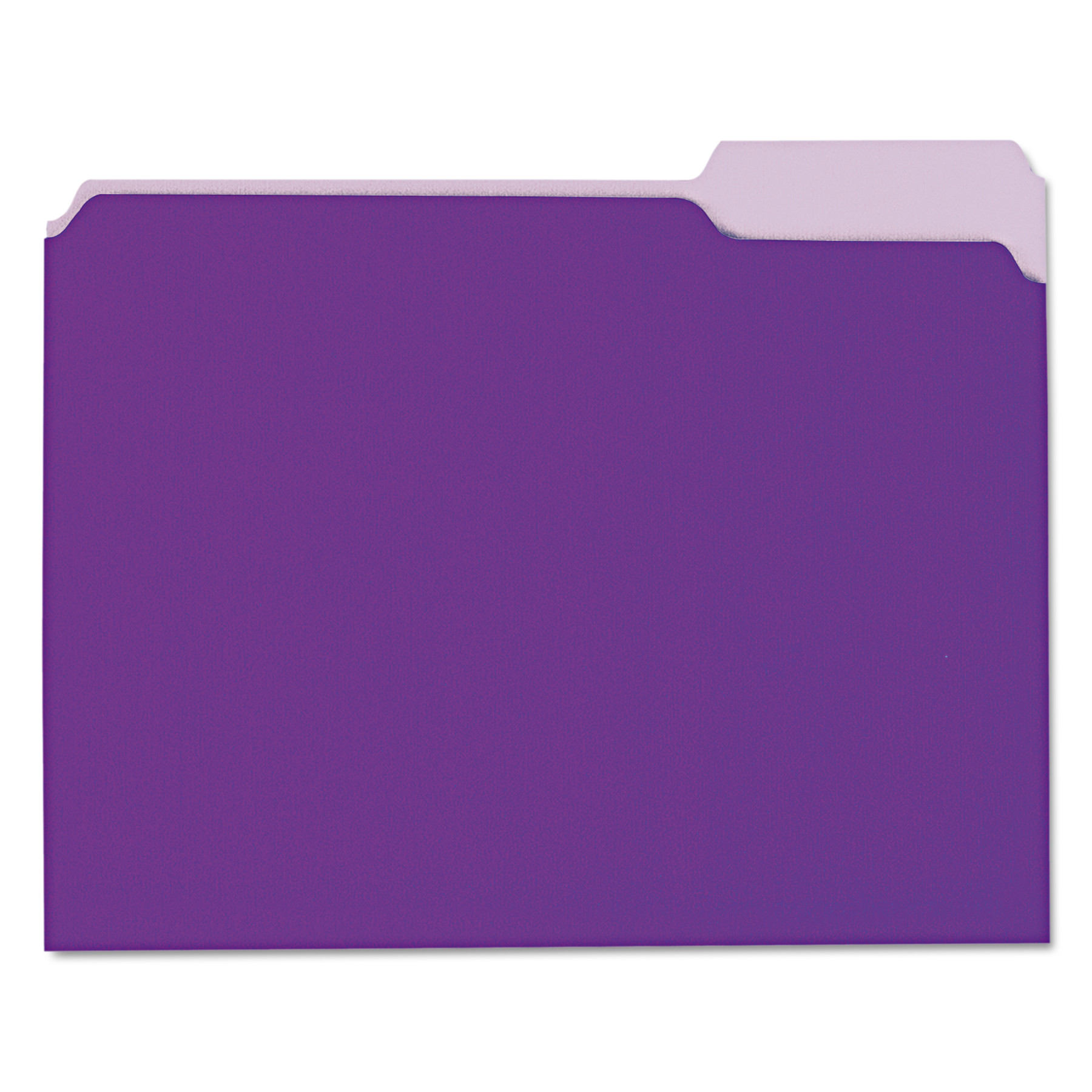 Recycled Interior File Folders, 1/3 Cut Top Tab, Letter, Violet, 100/Box