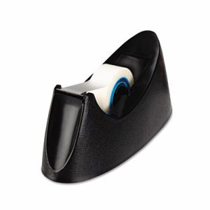 "Desktop Tape Dispenser, 1"" Core, Weighted Nonskid Base, Black"