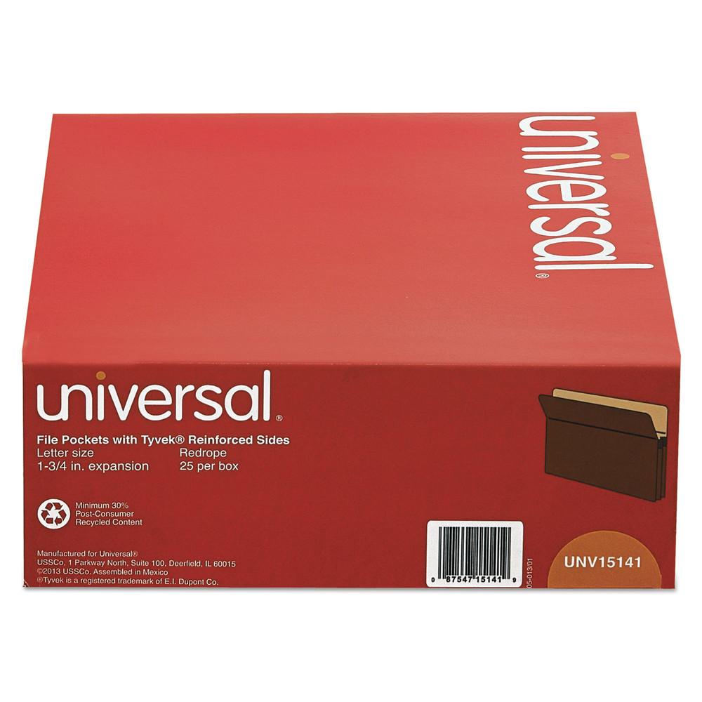 1 3/4 Inch Expanding File Pockets, Straight Tab, Letter, Redrope/Manila, 25/Box