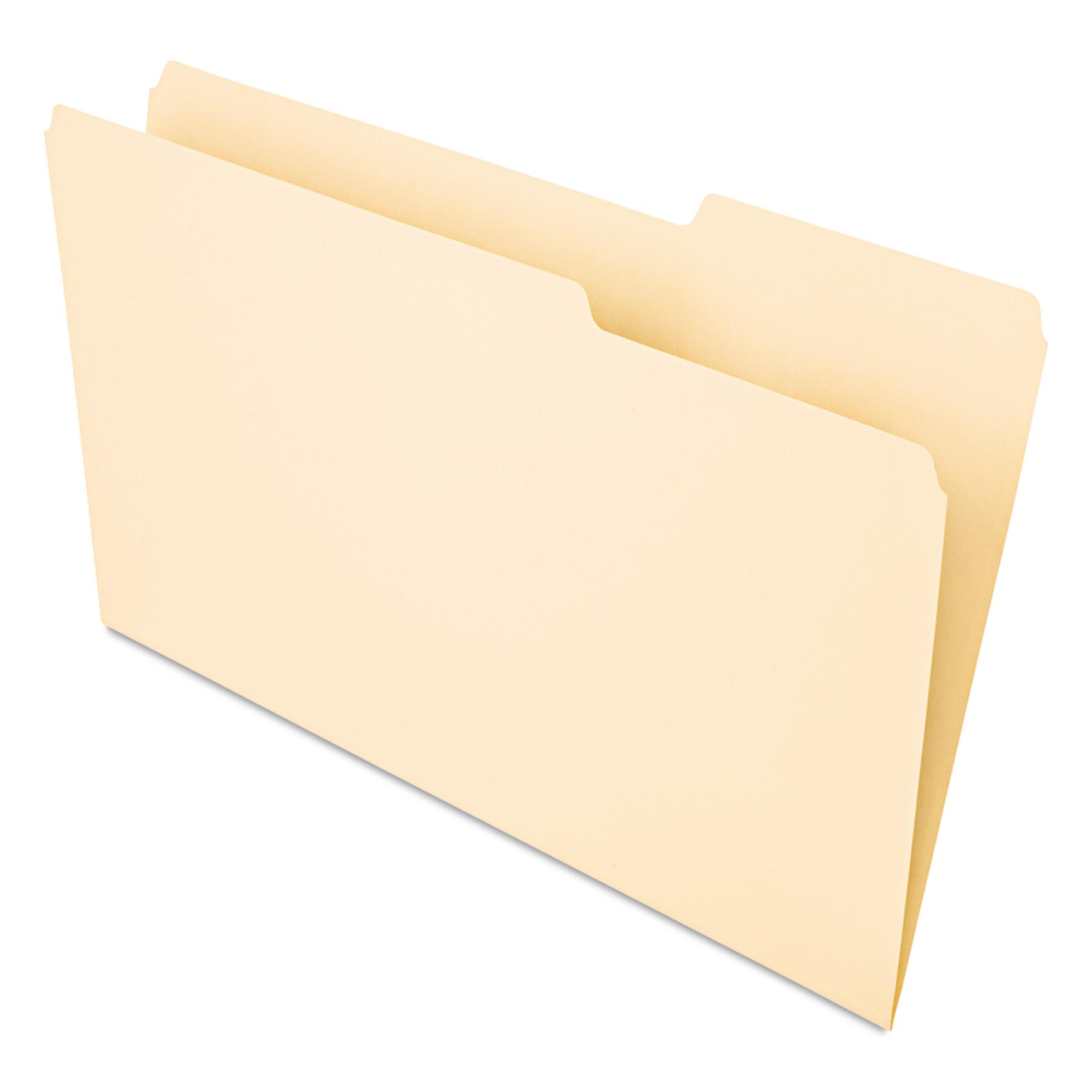 Recycled Interior File Folders, 1/3 Cut Top Tab, Legal, Manila, 100/Box