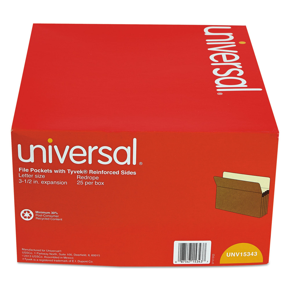 3 1/2 Inch Expansion File Pockets, Straight Tab, Letter, Redrope/Manila, 25/Box