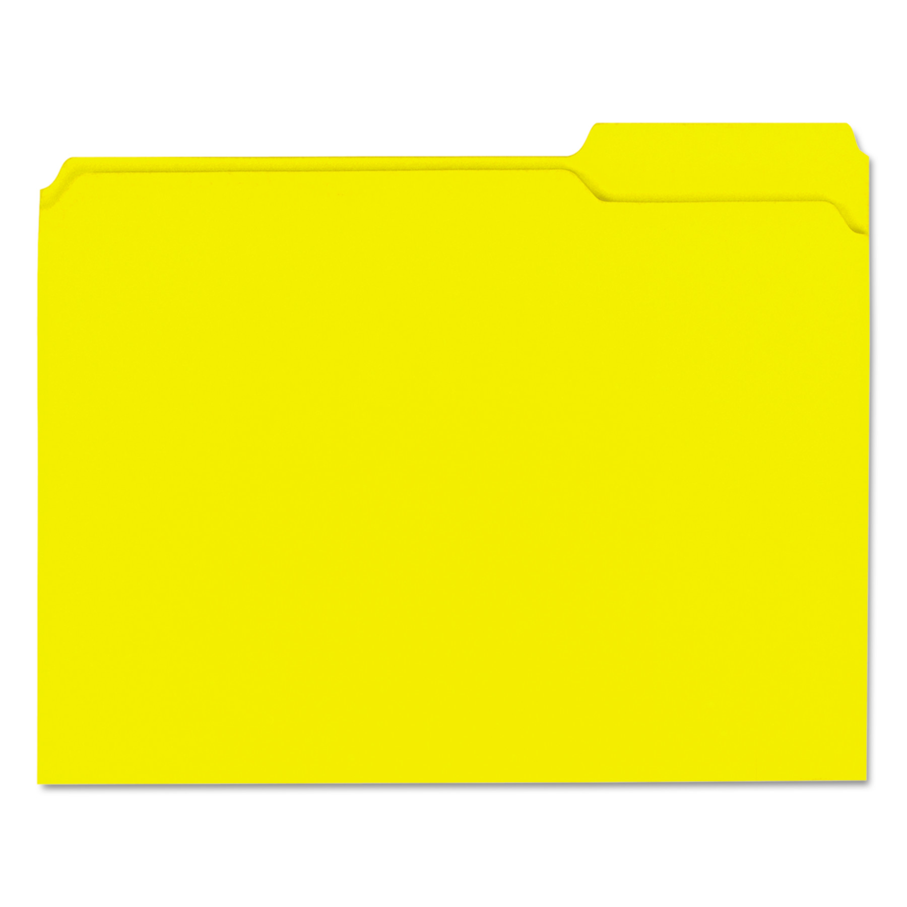 Colored File Folders, 1/3 Cut Assorted, Two-Ply Top Tab, Letter, Yellow, 100/Box