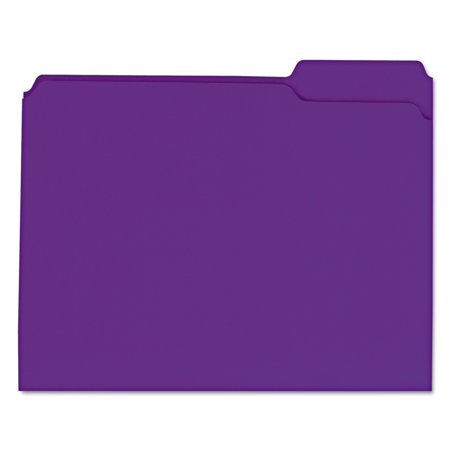 Colored File Folders, 1/3 Cut Assorted, Two-Ply Top Tab, Letter, Violet, 100/Box