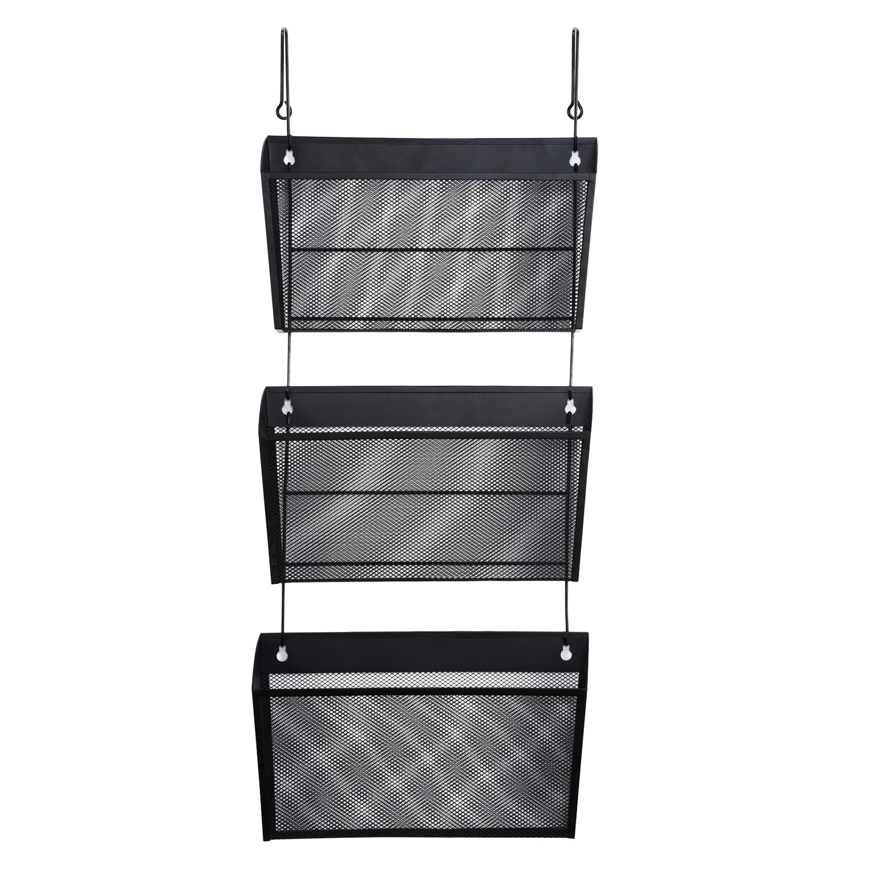 Mesh Three-Pack Wall Files with Hanger, Letter, Black