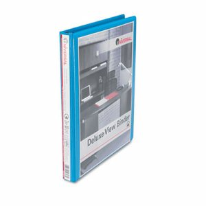 "Deluxe Round Ring View Binder, 1/2"" Capacity, Light Blue"