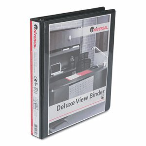 "Deluxe Round Ring View Binder, 1"" Capacity, Black"