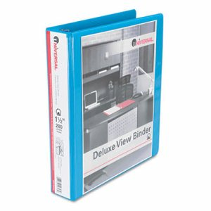 "Deluxe Round Ring View Binder, 1-1/2"" Capacity, Light Blue"