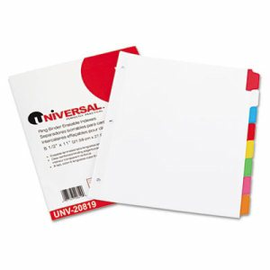 Write-On/Erasable Indexes, Eight Multicolor Tabs, Letter, White