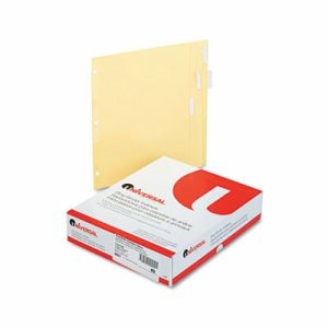 Economical Insertable Index, Clear Tabs, 5-Tab, Letter, Buff, 24 Sets/Box