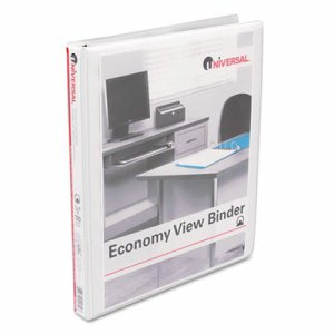 "Economy Round Ring View Binder, 1/2"" Capacity, White"