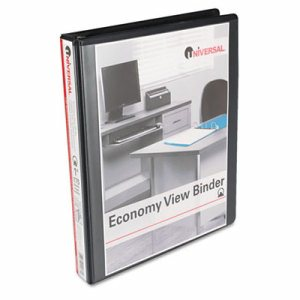 "Economy Round Ring View Binder, 1"" Capacity, Black"