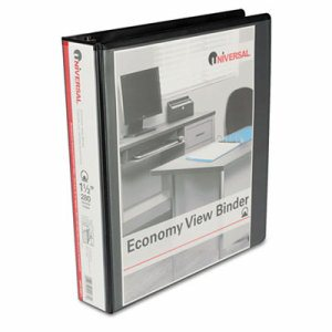 "Economy Round Ring View Binder, 1-1/2"" Capacity, Black"