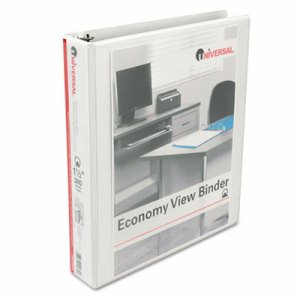 "Economy Round Ring View Binder, 1-1/2"" Capacity, White"