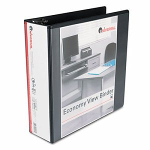 "Economy Round Ring View Binder, 3"" Capacity, Black"