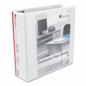 "Economy Round Ring View Binder, 3"" Capacity, White"