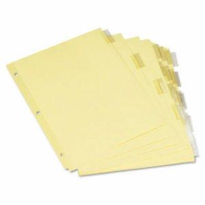 Economical Insertable Index, Clear Tabs, 5-Tab, Letter, Buff, 6 Sets/Pack