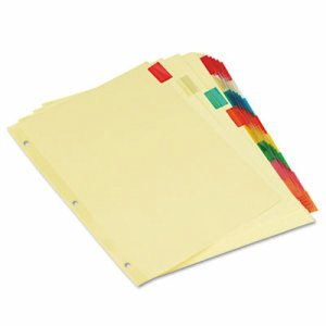 Economical Insertable Index, Multicolor Tabs, 8-Tab, Letter, Buff, 6 Sets/Pack