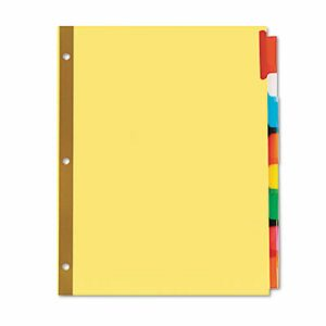 Extended Insert Indexes Assorted Color 8-Tab, Letter, Buff, 6 Sets/Box