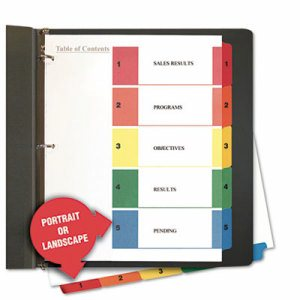 Table of Contents Dividers, Assorted Color 5-Tab, 1-5, Letter, White, 6/Pack