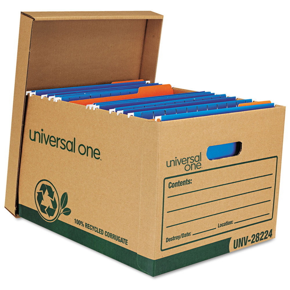Recycled Record Storage Box, Letter, 12 x 15 x 10, Kraft, 12/Carton