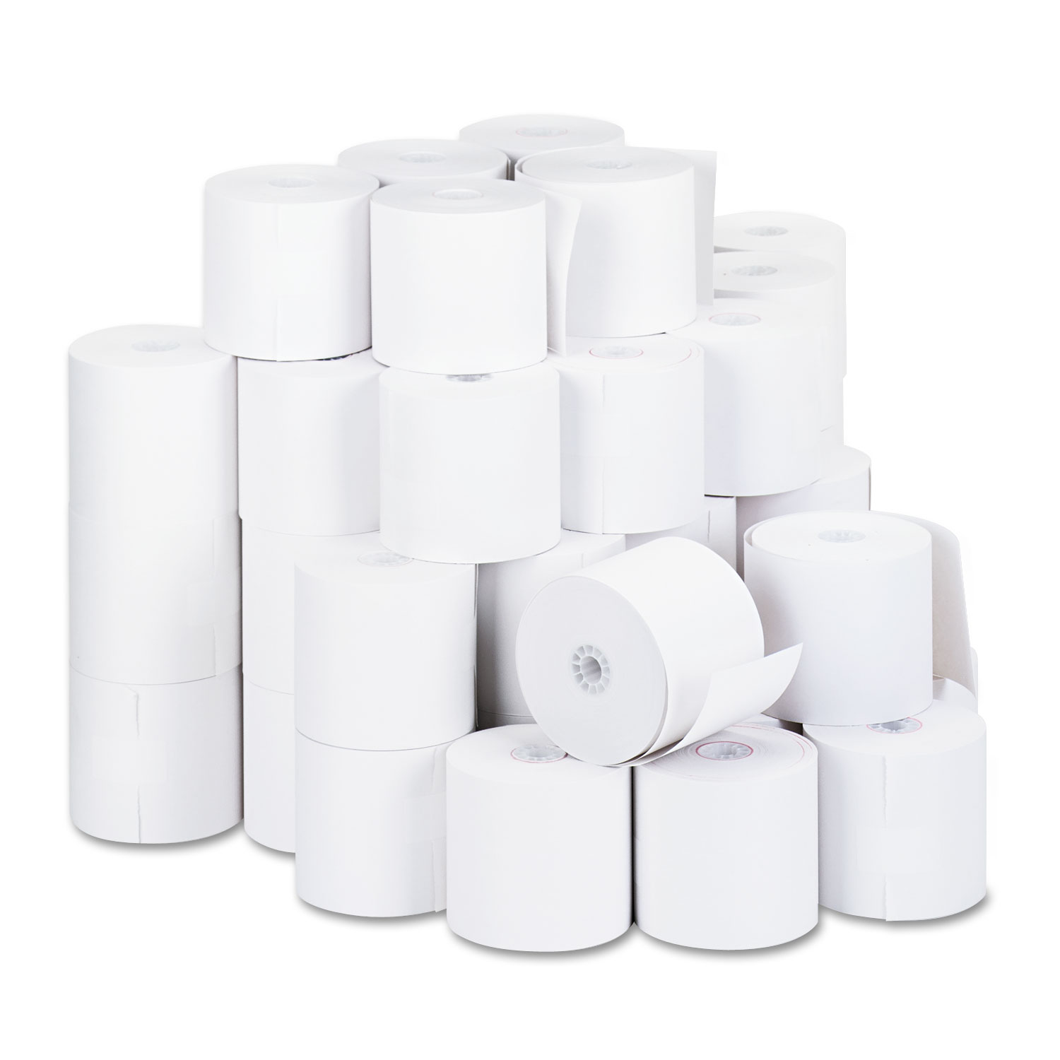 "1-Ply Cash Register/Point of Sale Roll, 16 lb, 1/2"" Core, 2-3/4"" x 190 ft, 50/Ct"