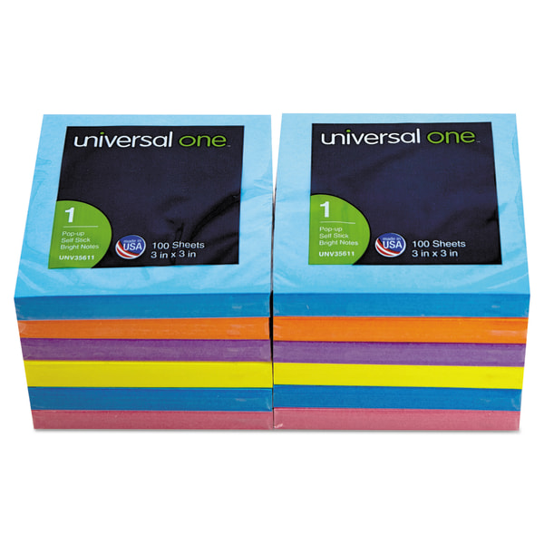 Fan-Folded Pop-Up Notes, 3 x 3, Assorted Bright Colors, 100-Sheet, 12/Pack