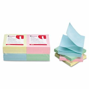 Fan-Folded Pop-Up Notes, 3 x 3, 4 Assorted Pastel Colors, 100-Sheet, 12/Pack