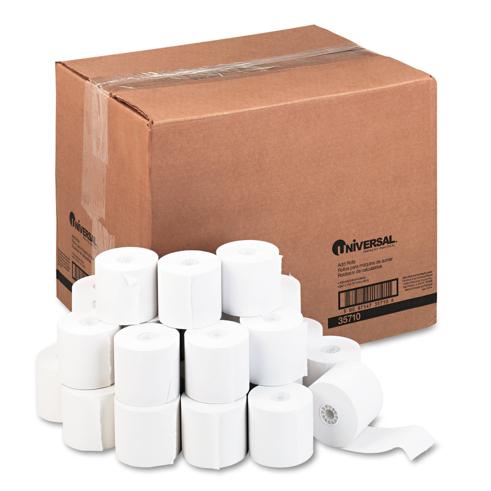 "Adding Machine/Calculator Roll, 16 lb, 1/2"" Core, 2-1/4"" x 150 ft,White, 100/CT"