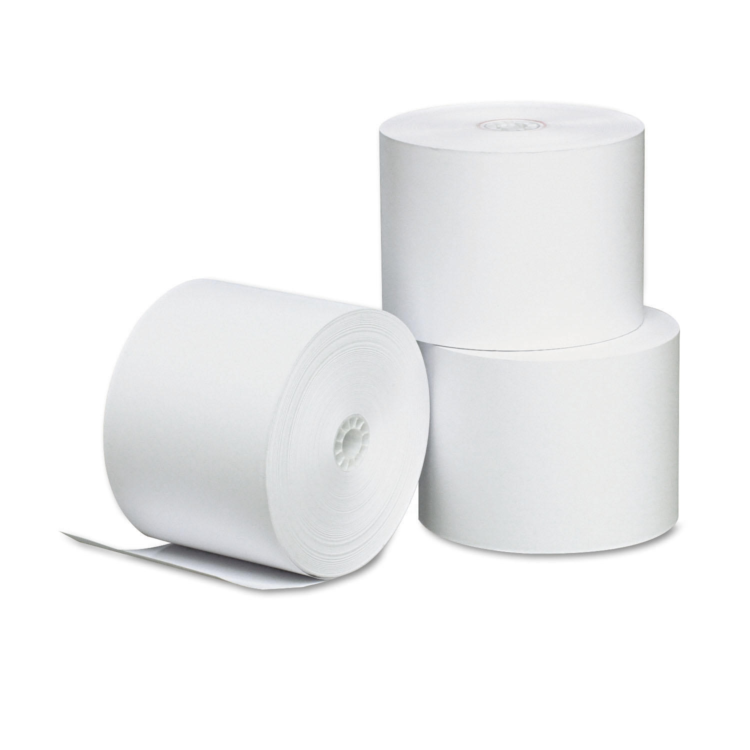 "Single-Ply Thermal Paper Rolls, 2 1/4"" x 165 ft, White, 3/Pack"