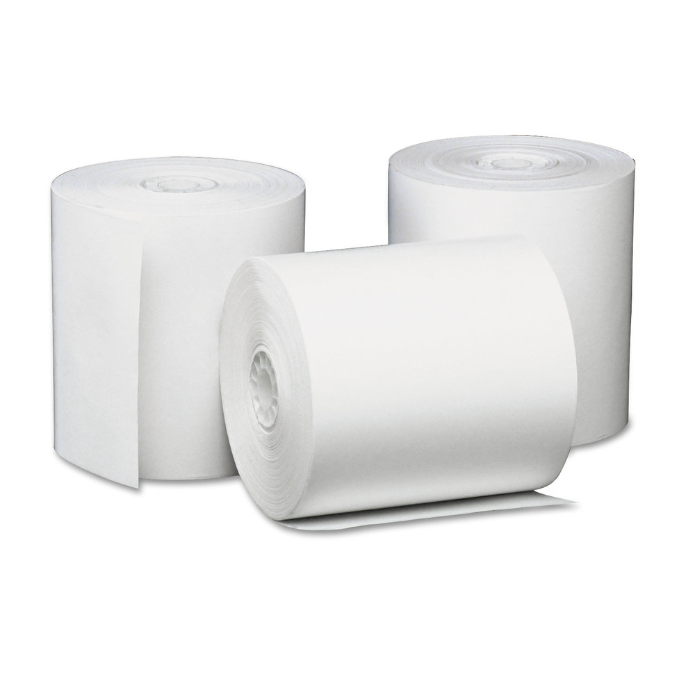 "Single-Ply Thermal Paper Rolls, 3 1/8"" x 230 ft, White, 50/Carton"