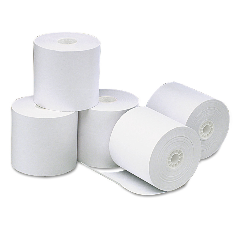 "Single-Ply Thermal Paper Rolls, 3 1/8"" x 273 ft, White, 50/Carton"