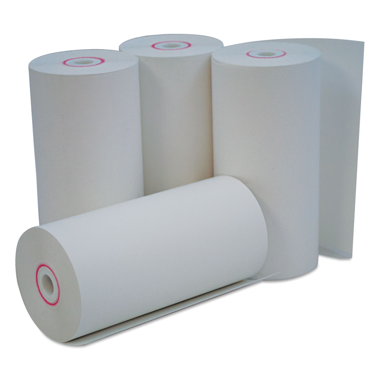 """Single-Ply Thermal Paper Rolls, 4 3/8"""" x 127 ft, White, 50/Carton"""