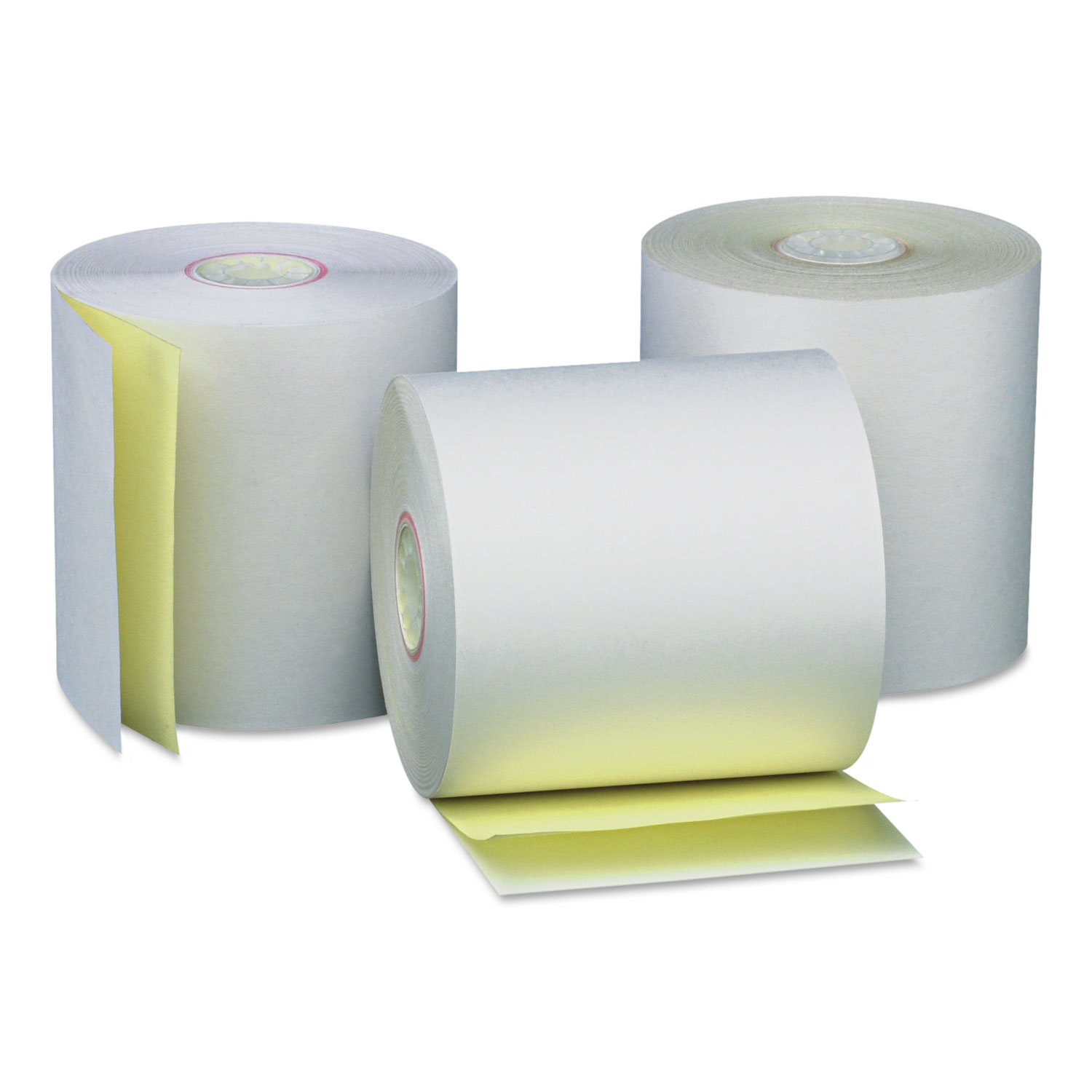 "Carbonless Paper Rolls, White/Canary, 3"" x 90 ft, 50/Carton"