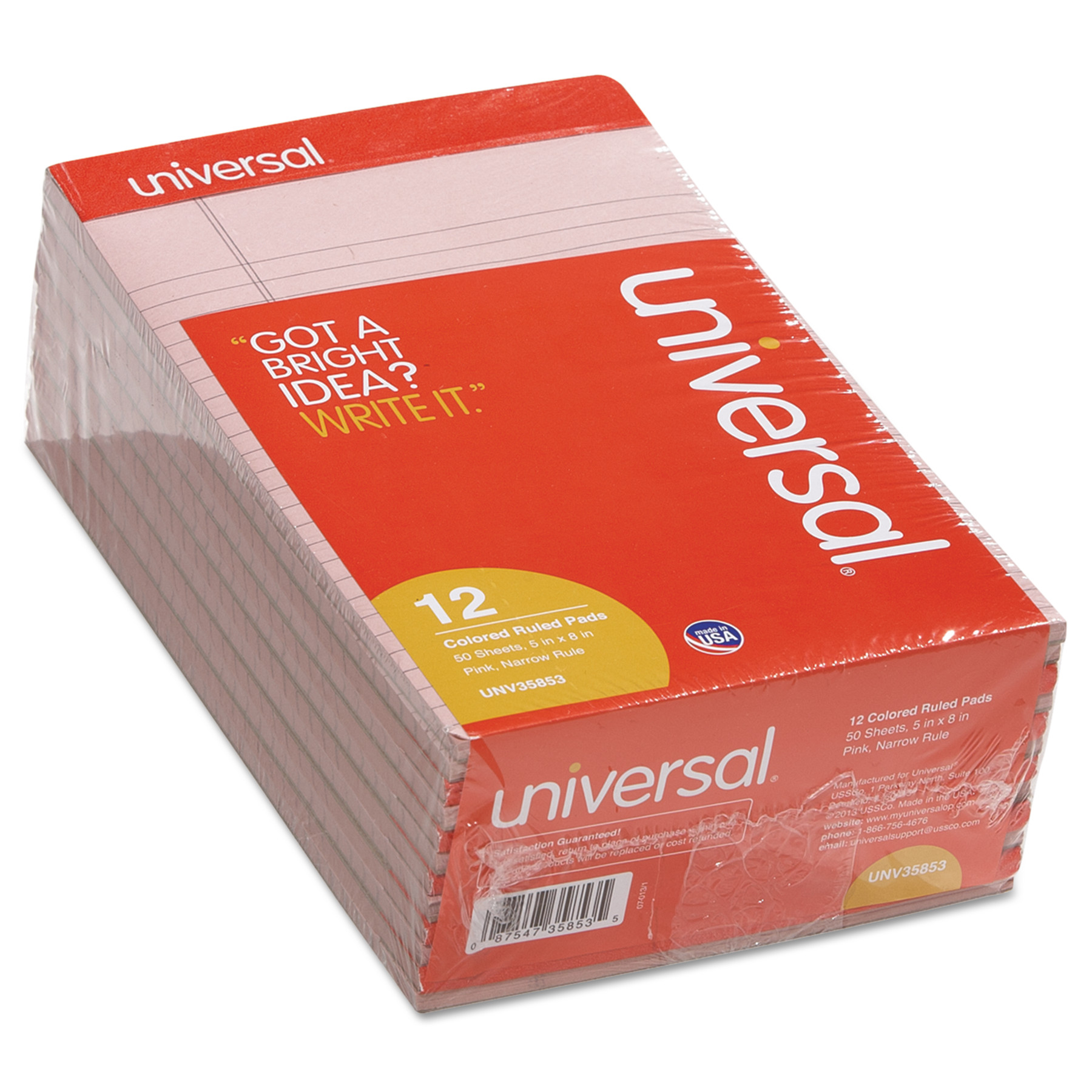 Colored Perforated Note Pads, Narrow Rule, 5 x 8, Pink, 50 Sheet, Dozen