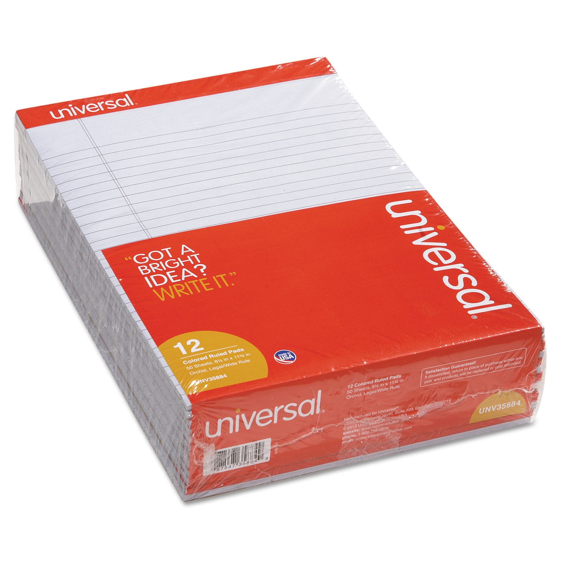 Colored Perforated Note Pads, 8 1/2 x 11, Orchid, 50 Sheet, Dozen