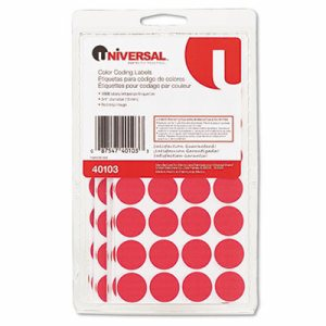 "Self-Adhesive Removable Color-Coding Labels, 3/4"" dia, Red, 1008/Pack"