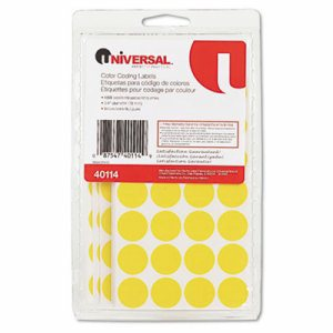 """Self-Adhesive Removable Color-Coding Labels, 3/4"""" dia, Yellow, 1008/Pack"""
